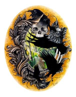 Erin Thompson raven skull painting
